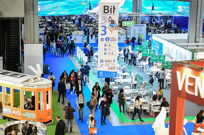 BIT, International Tourism Fair at Fiera Milano City stock image