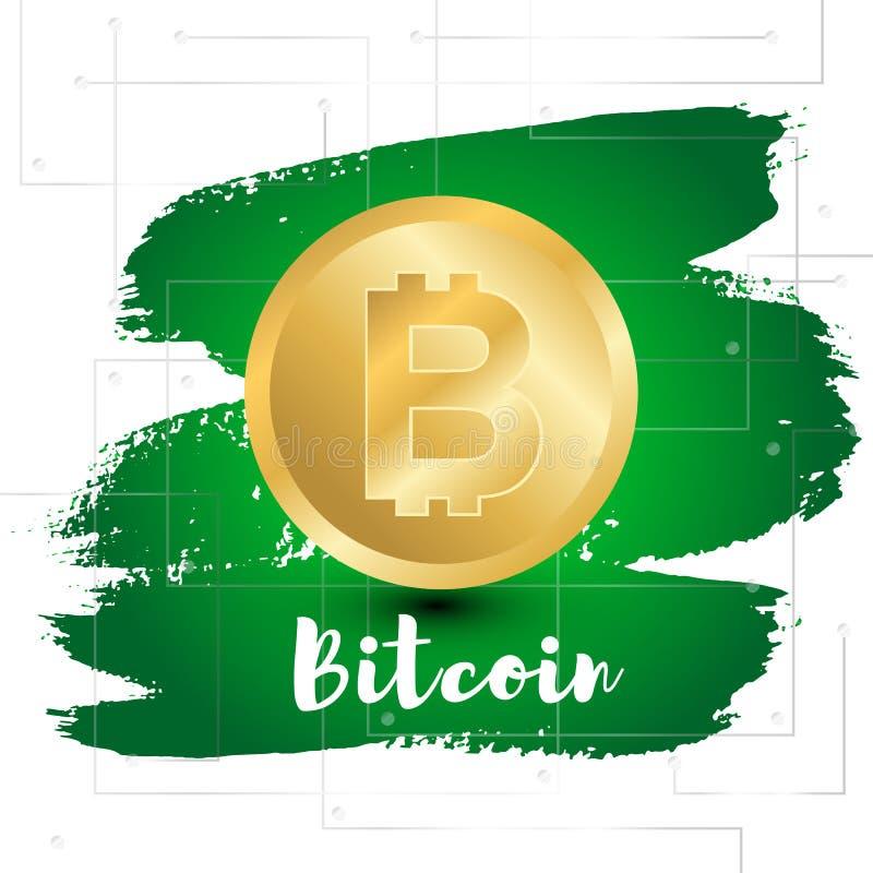 Bit-mynt på grön lutningmålarfärgsplodge av målarfärg stock illustrationer