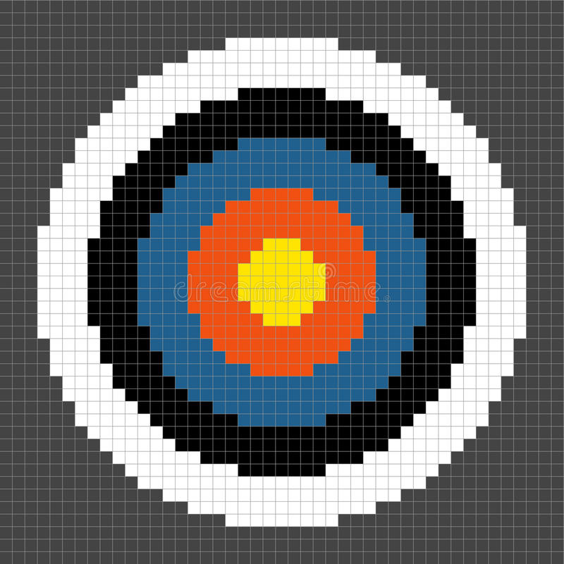 8-bit Pixel-art Archery Target. 8-bit Pixel-art Round Target. Each pixel has been left as a square and the circles are separated onto different layers for stock illustration