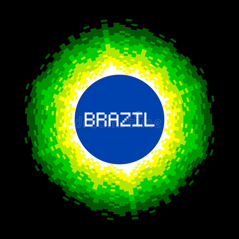 8-Bit Pixel-art Brazil World Concept. Colors are saved as global swatches for easy re-coloring vector illustration