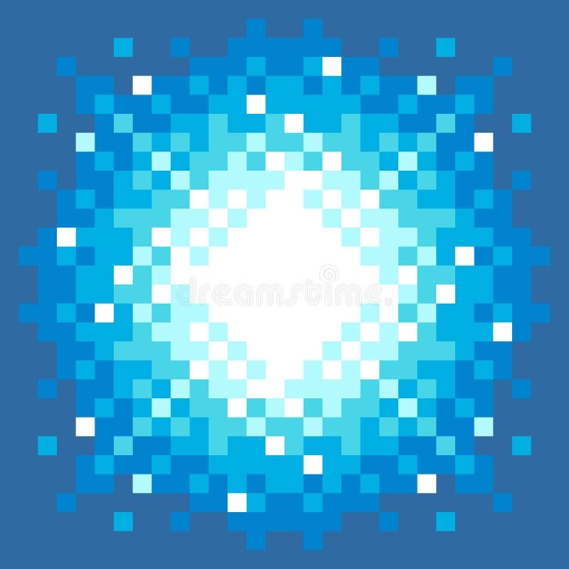 8-Bit Pixel-art Explosion. On a Blue Background royalty free illustration