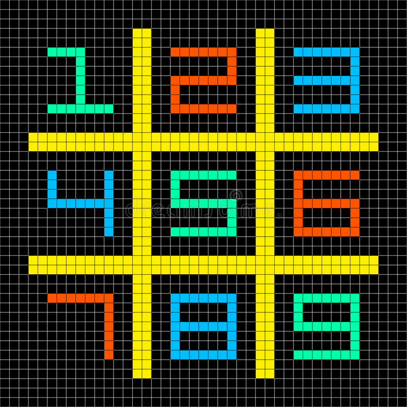 8-bit Pixel Art Numbers 1-9 in a Sudoku Grid. 8-bit Pixel Art with Numbers 1-9 in a Sudoku Grid. Assets separated onto separate layers stock illustration