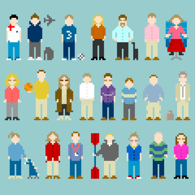 8-bit Pixel-art People From a Web Design Agency Office. Pixel-art representations of people from the office, former work colleagues stock illustration