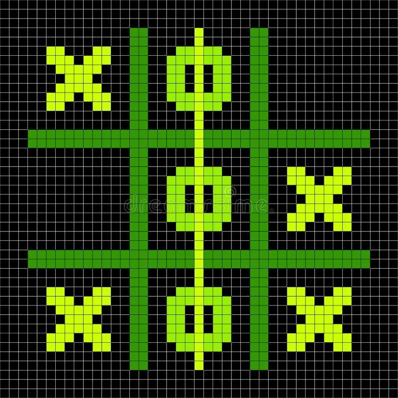 8-bit Pixel Art Tic Tac Toe Game - Winning Position. Tic Tac Toe winning game position depicted in 8-bit pixel art royalty free illustration