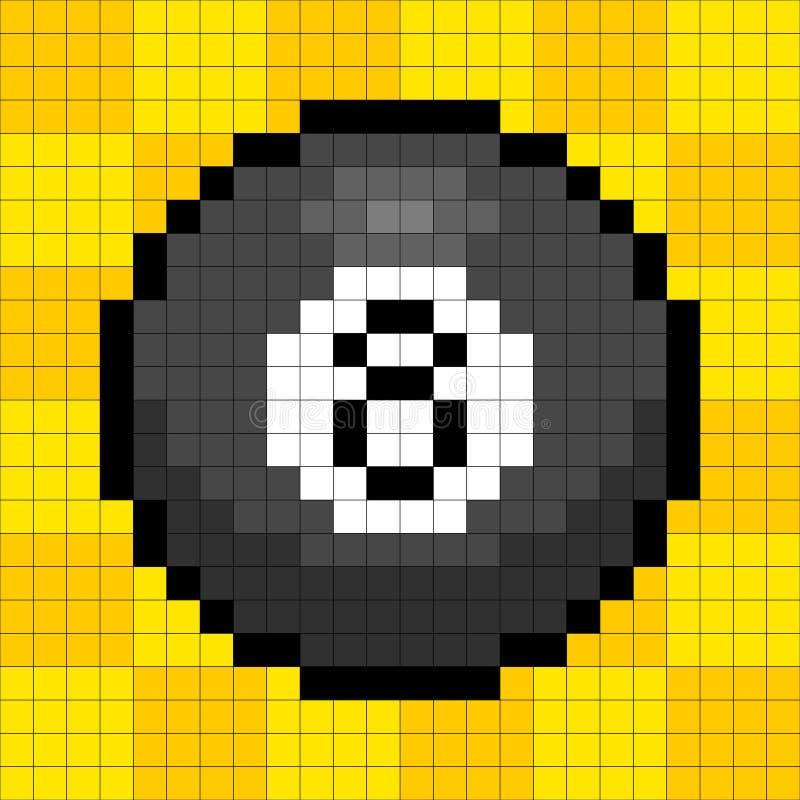 8-bit Pixel 8-ball. 8-bit pixel representation of the 8 billiard ball on a yellow background royalty free illustration