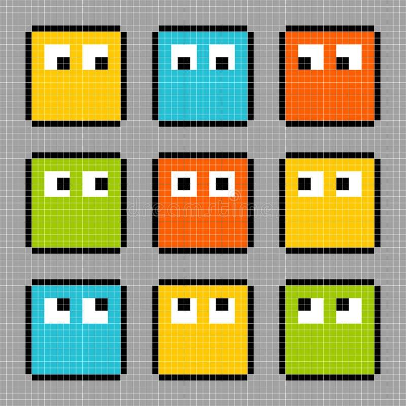 8-bit pixel block characters looking in different directions. 8-bit pixel characters looking in different directions. Each character is on a separate layer vector illustration