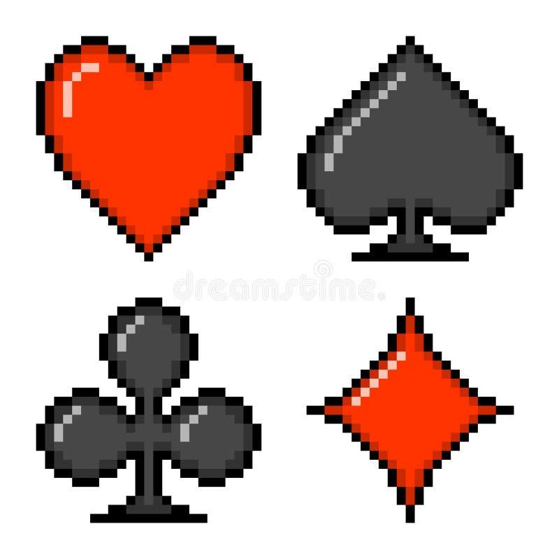 8-bit pixel card suits. Card suits: heart, spade, club, diamond depicted in 8-bit pixel art royalty free illustration