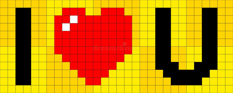 8-bit Pixel I Heart U. 8-bit pixel composition of the phrase I Heart U royalty free illustration