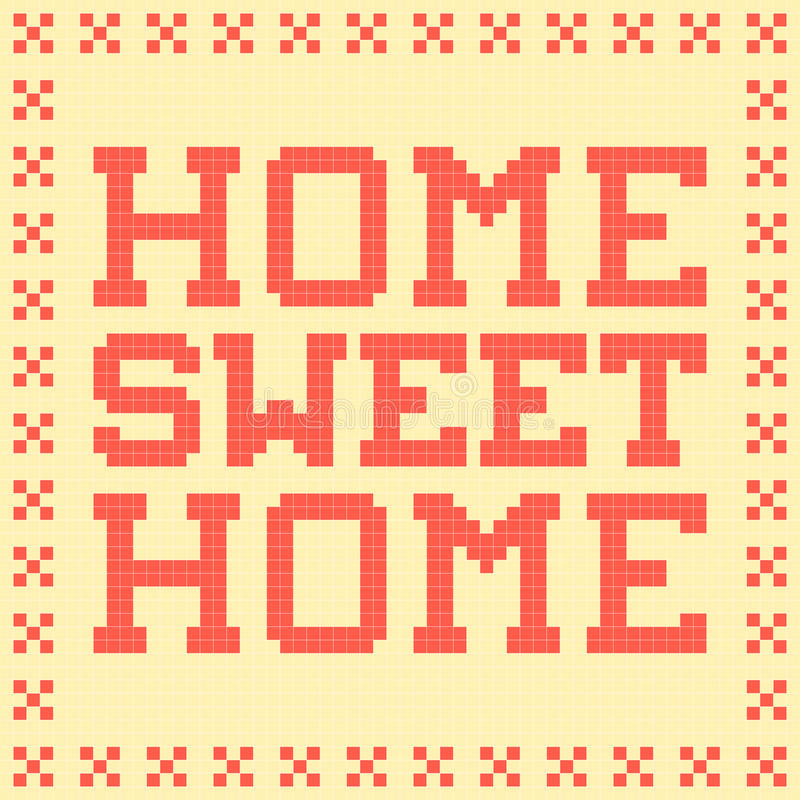 8-bit Pixel Home Sweet Home Mat. Created in Adobe Illustrator, with the words, border and background on separate layers stock illustration