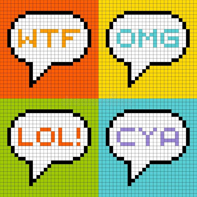 8-bit Pixel 3-Letter Acronyms in Speech Bubbles. 8-bit pixel representation of common 3-letter acronyms in speech bubbles royalty free illustration