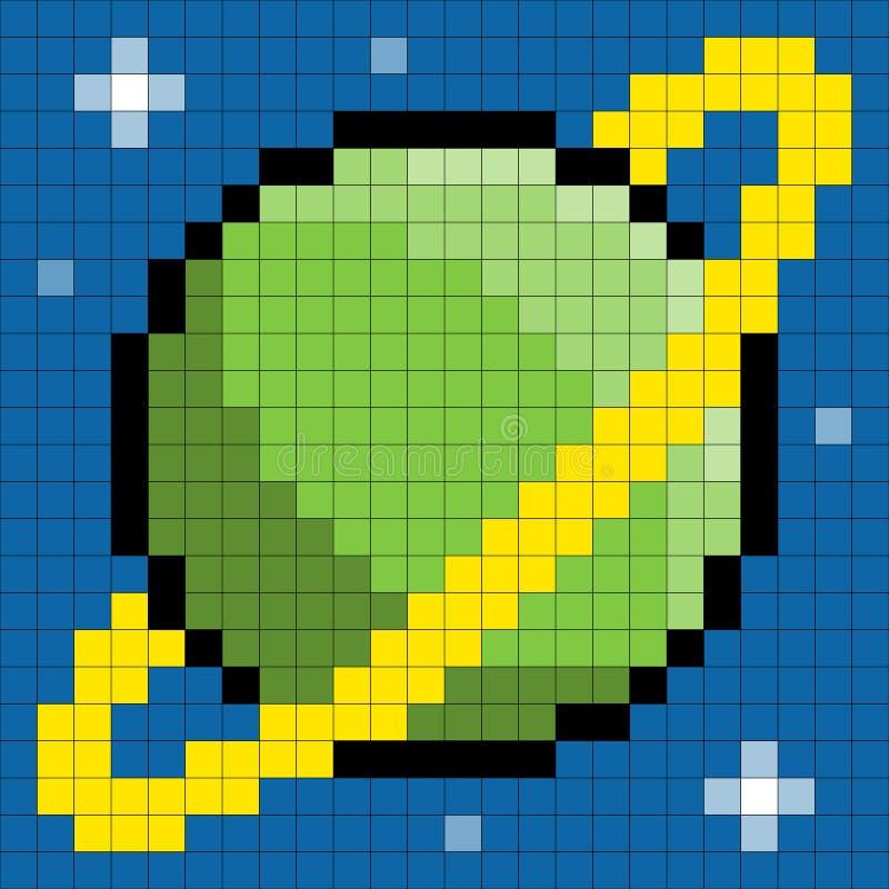 8-bit Pixel Planet Stock Photography