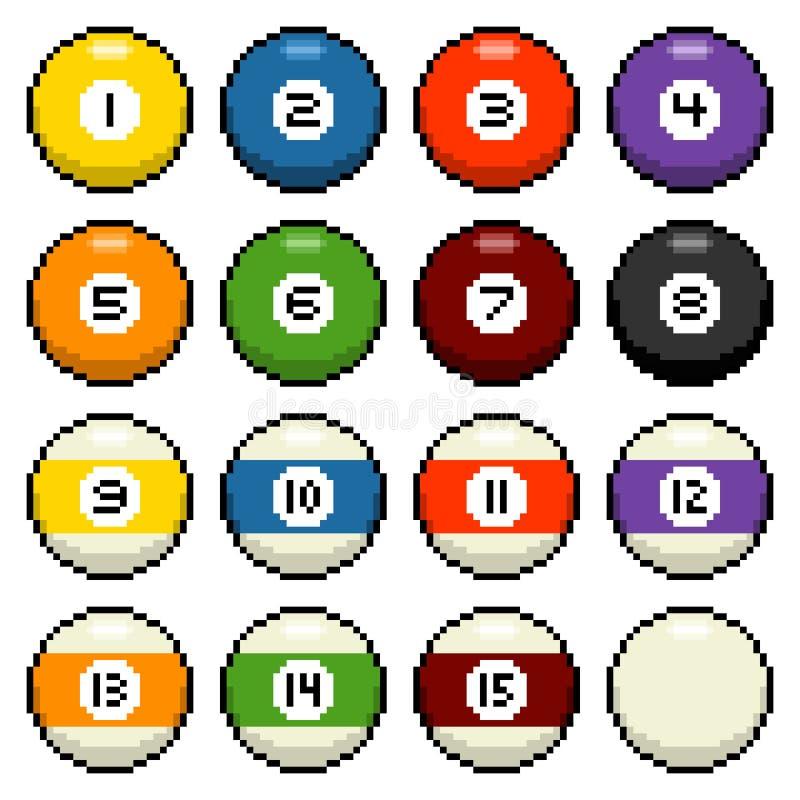 8-bit pixel pool balls. Pool / billiard balls 1-15 depicted in 8-bit pixel art stock illustration