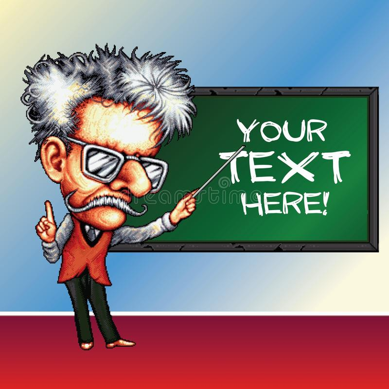 8 bit pixel professor with pointer on blackboard background - with place for your text royalty free stock photography