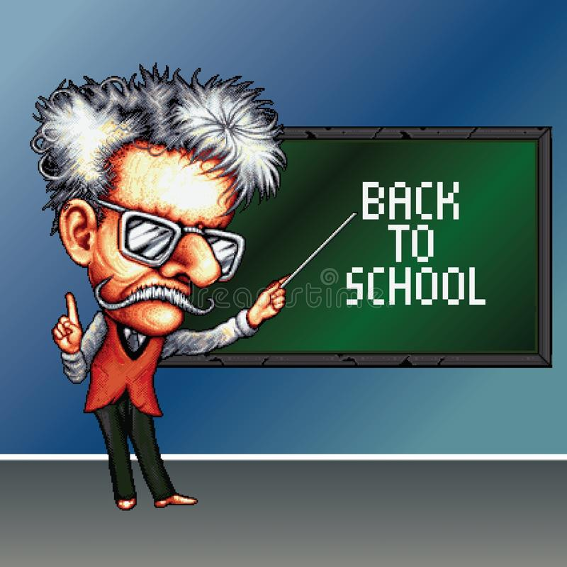 8 bit pixel teacher on the school blackboard background with phrase Back to school royalty free stock photo
