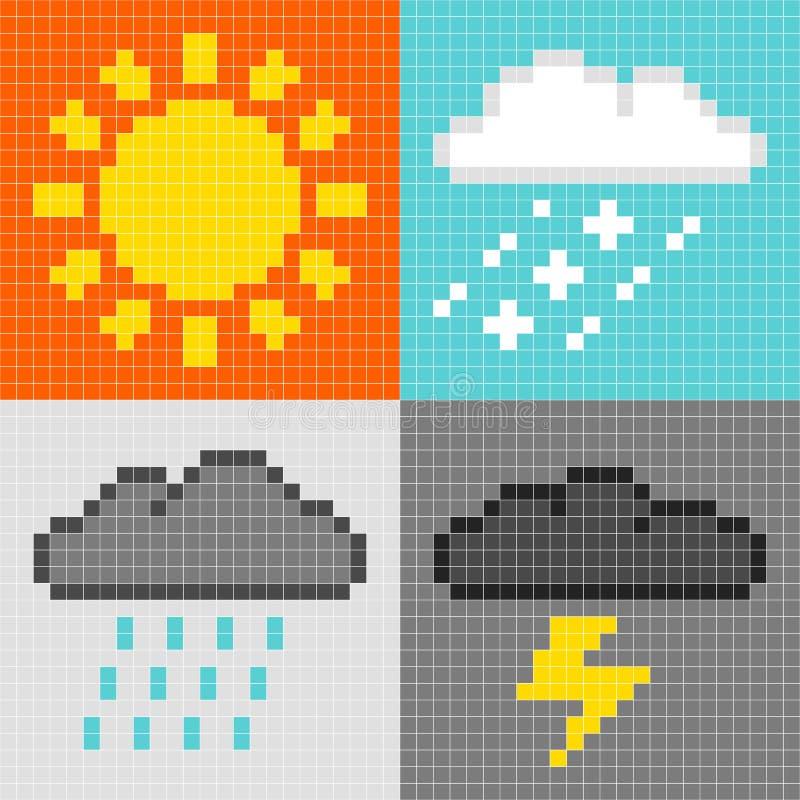 8-bit pixel weather symbols: sun, rain, snow, thunder. 8-bit pixel-art weather symbols: sun, rain, snow, thunder stock illustration