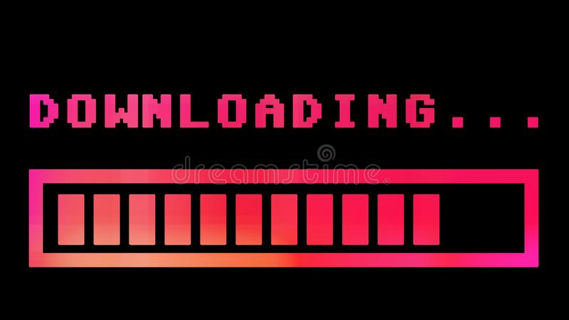 Downloading progress bar 8-bit hue. 8-bit retro style downloading text with progress bar, with color hue shift stock illustration