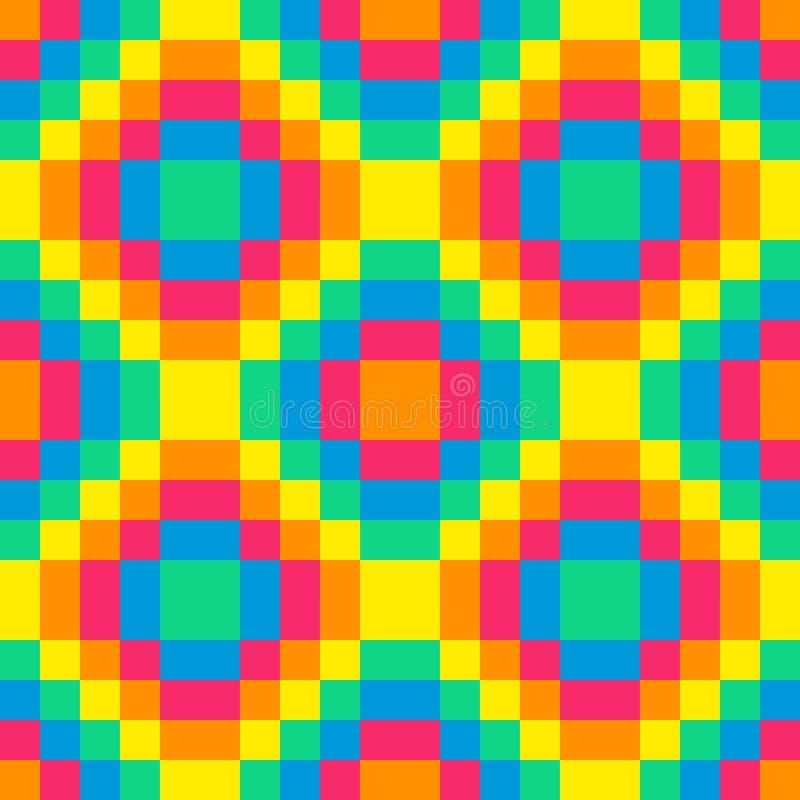 8-bit seamless rainbow diamond pattern background tile. Using pink, orange, yellow, green and blue royalty free illustration