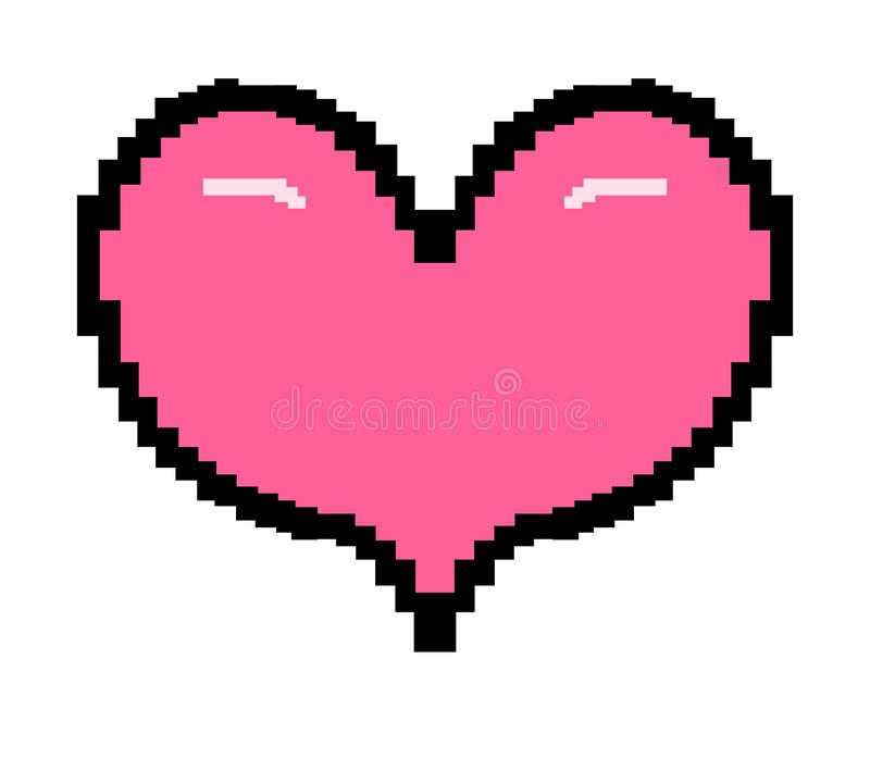 8 Bit style pink heart stock illustration