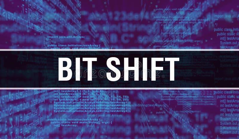 Bit-Verschiebung mit digitalem Java-Code Bitverschiebung und Codierungsvektor für Computersoftware Programmierskript java, lizenzfreies stockbild