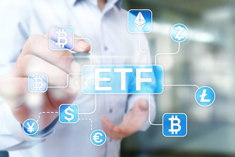 Bitamett ETF Conceito de fundo e criptomoeda negociado do Exchange em tela virtual imagem de stock