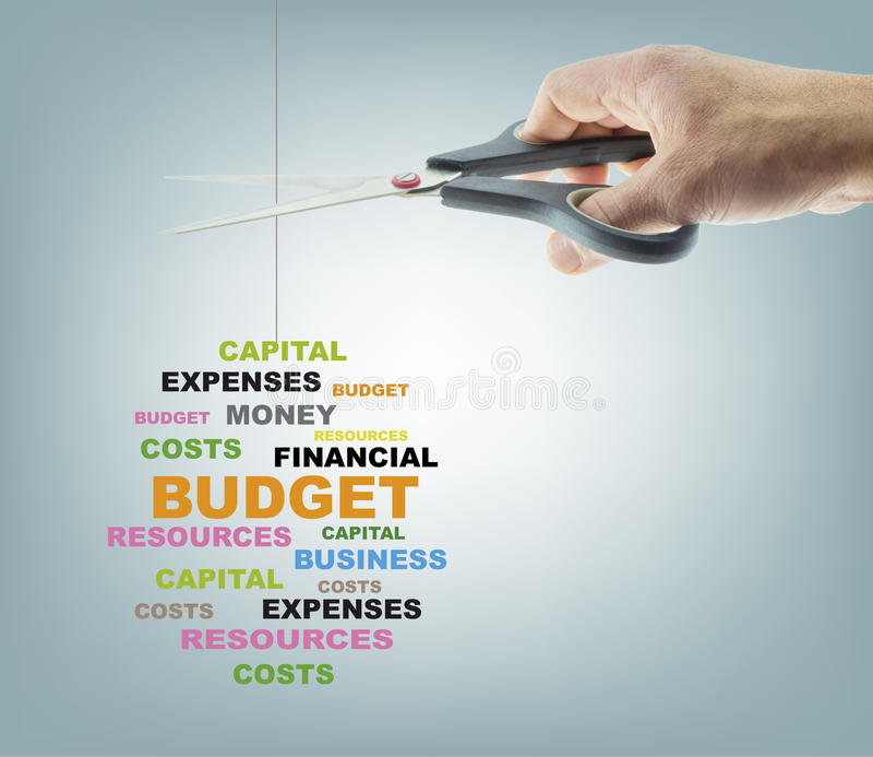 Bitande budget stock illustrationer