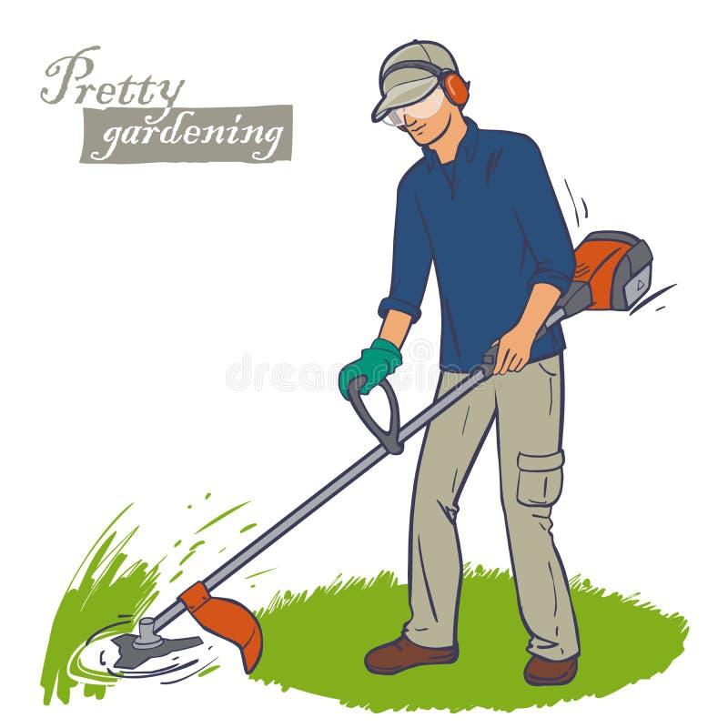 Bitande gräsbeskärare royaltyfri illustrationer