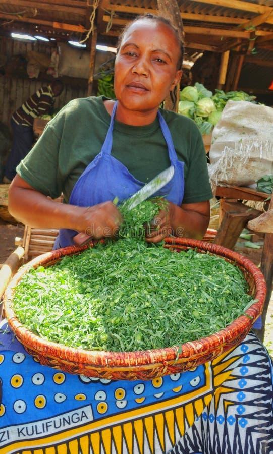 Bitande grönsaker för afrikansk kvinna fotografering för bildbyråer