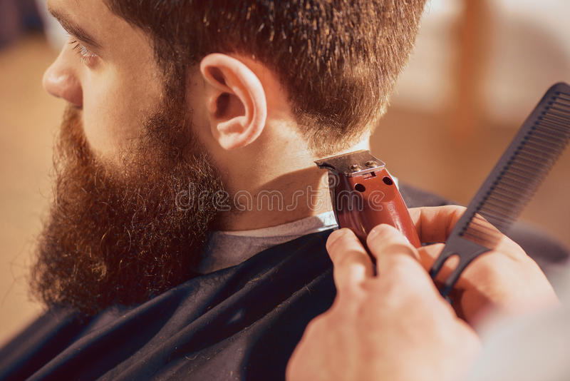 Bitande hår för yrkesmässig barberare av hans klient royaltyfri bild