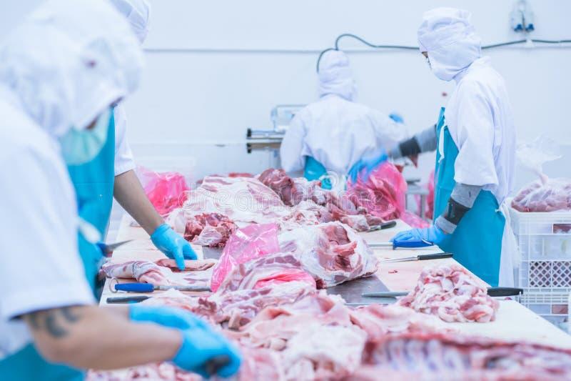 Bitande köttslakthusarbetare i fabriken royaltyfri fotografi