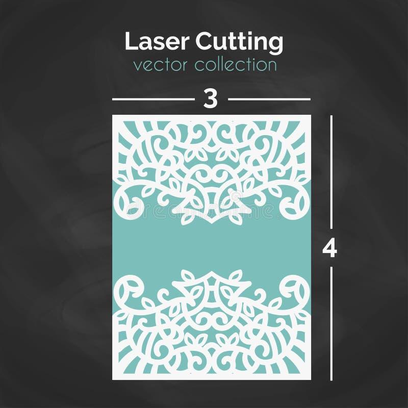 Bitande mall för laser Carverd hälsningkort stock illustrationer