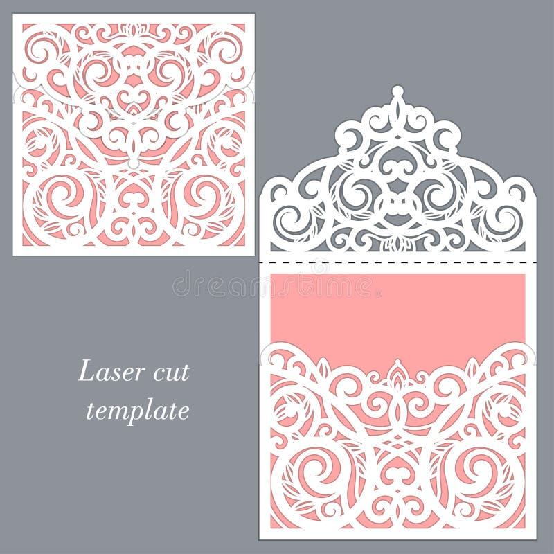 Bitande mall för laser Kuvert för att gifta sig inbjudan vektor vektor illustrationer
