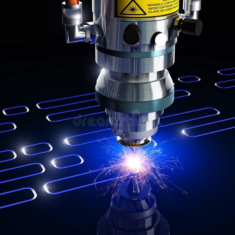 Bitande maskin för laser vektor illustrationer