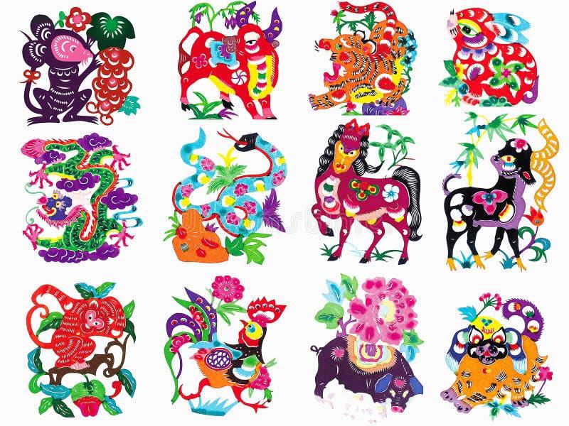 Bitande zodiak för kinesiskt traditionellt färgpapper stock illustrationer