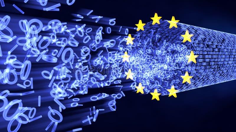 Bitar och byte för EU GDPR i dataström vektor illustrationer