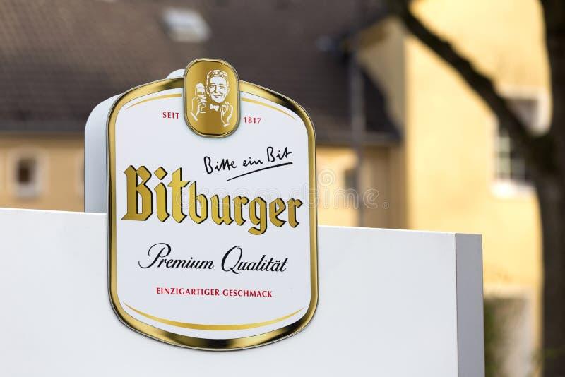Bitburger-Bier unterzeichnen witten herein Deutschland stockfoto