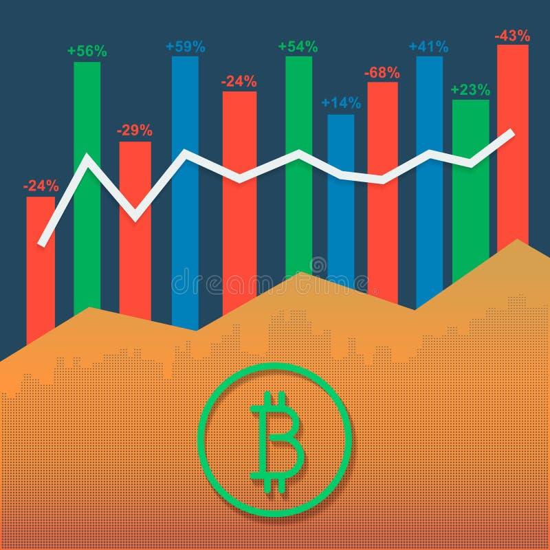 Bitcoin与市场成长图表和容量专栏的略写法cryptocurrency 向量例证