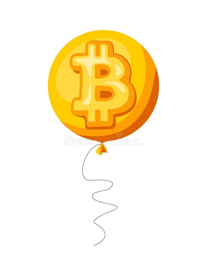 Bitcoin以气球的形式cryptocurrency标志 库存例证