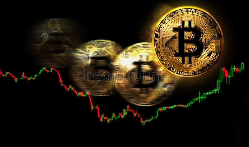 Bitcoin价格浮动,概念性贸易的例证 库存例证