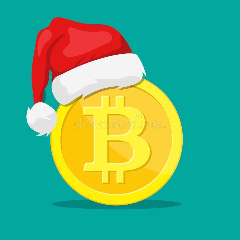Bitcoin和圣诞老人帽子 库存例证