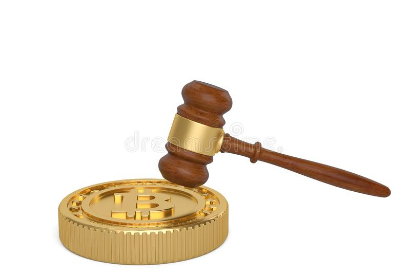 Bitcoin和拍卖锤子在白色背景 3d例证 皇族释放例证