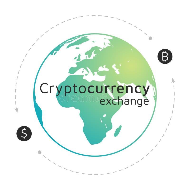 Bitcoin和美元商标 Cryptocurrency交换 EPS10 库存例证