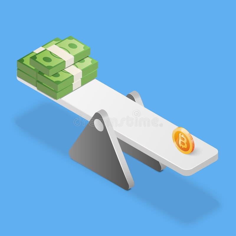 Bitcoin和美元在等级的堆 到达天空的企业概念金黄回归键所有权 等量传染媒介例证 库存例证