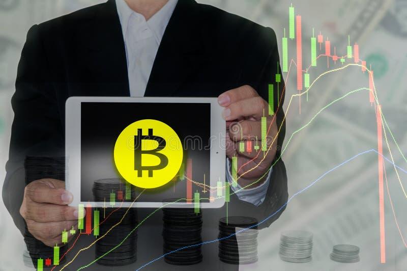 Bitcoin和Blockchain概念 库存图片