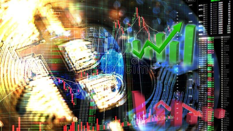 Bitcoin商业交换股市投资,与图表、价格和蜡烛棍子图贸易隐藏货币趋向的外汇  库存例证
