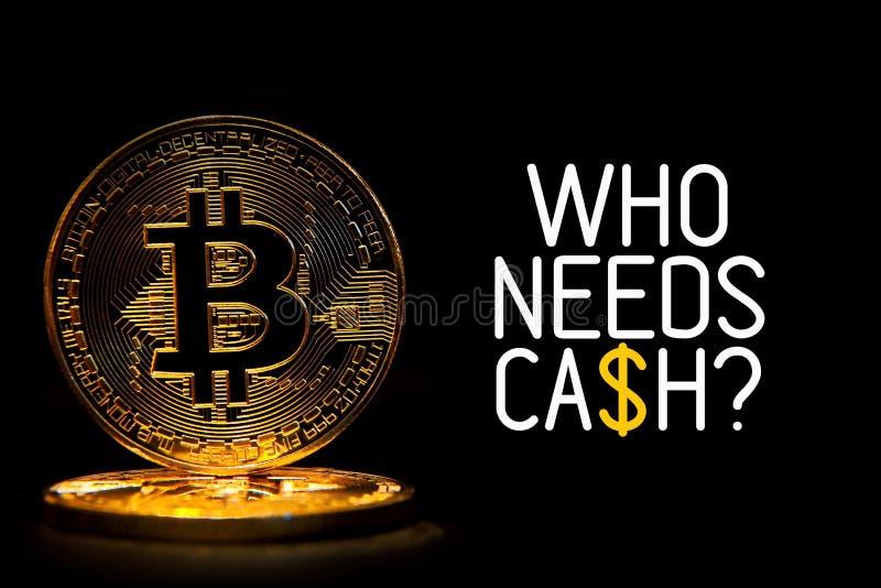 Bitcoin在与文本世界卫生组织的黑色隔绝了需要现金 库存图片