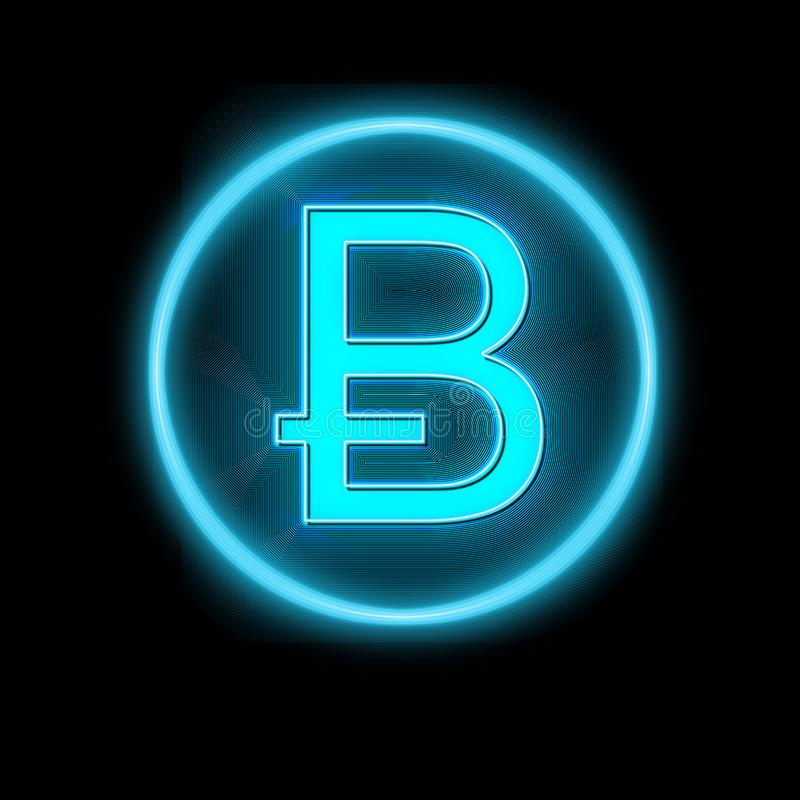 Bitcoin在黑色的标志氖 向量例证