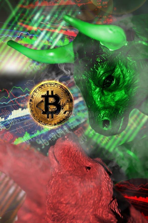 Bitcoin市场:熊和公牛概念性趋向例证 库存照片