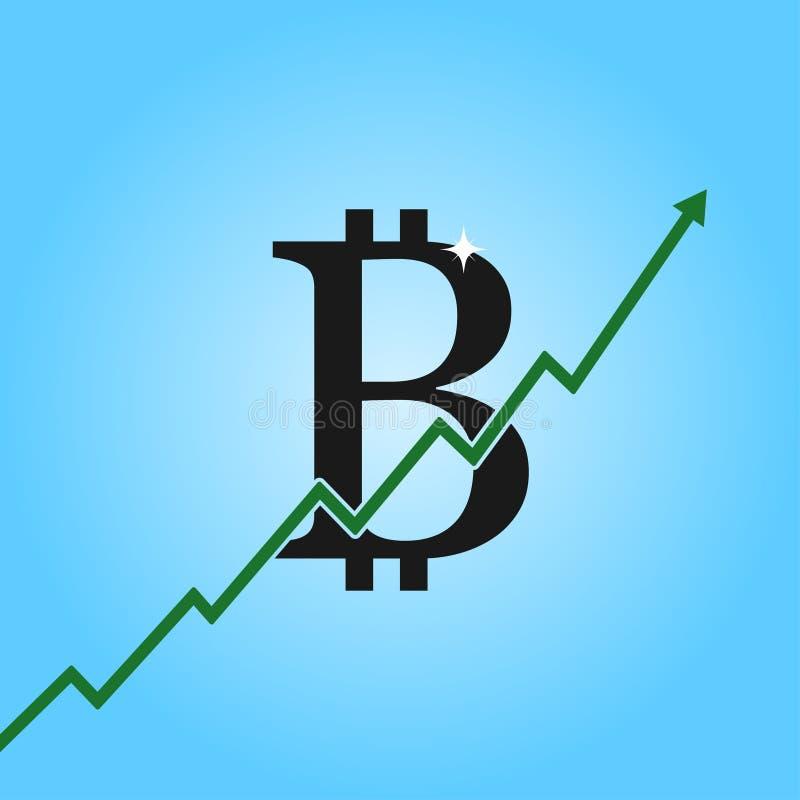 Bitcoin成长图表 与箭头的Bitcoin标志 cryptocurrency赢利和获取的概念 向量 库存例证