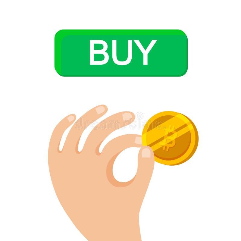 Bitcoin手中商人等量设计 富有的人民 给,收到作为金钱 按钮购买隐藏货币 向量例证
