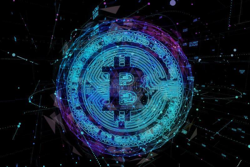 Bitcoin数字式货币和世界地球全息图、未来派数字式金钱和技术全世界网络概念 向量例证